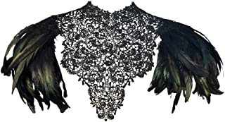 Gothic Victorian Black Natural Feather Lace Cape Shawl Shoulderpad