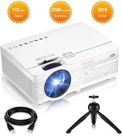 $89 Get Mini Projector, 2500 Lumens HD LCD Home Theater Projector Portable Compatible with HDMI, AV, VGA, SD Card, USB Port, Computer, USB Flash Drive, Smartphone, Tablet, DVD, etc