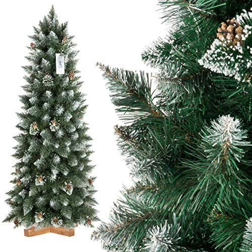 FairyTrees Pino con Punte innevate Effetto Naturale, Albero di Natale Artificiale Slim, PVC, pigne...