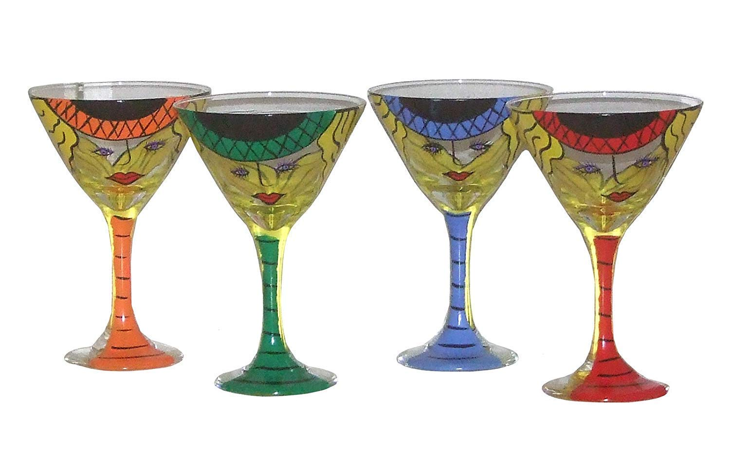 Set of mart Year-end gift 2 Whimsical Martini Glasses Bright H in Assortment. Color