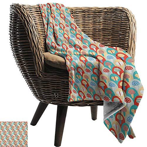 ZSUO bank deken paddestoel, konijn met paasei onder regenboog gelukkig konijn in de natuur kinderen thema leuk ontwerp Multi kleuren alle seizoen licht gewicht woonkamer/slaapkamer