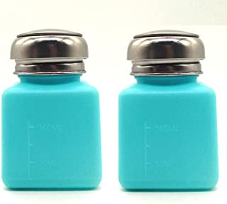 KEAIYYJ 4 oz One-Touch Liquid Dispenser Metal Pump Square Bottle for Alcohol/Nail Polish Remover Empty Plastic Bottles Light Blue 2 Pack