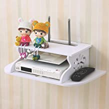 HAI+ Two-Layer White Floating Shelves Wall-Mounted WiFi Router TV Box Set-top Box Streaming Media Equipment