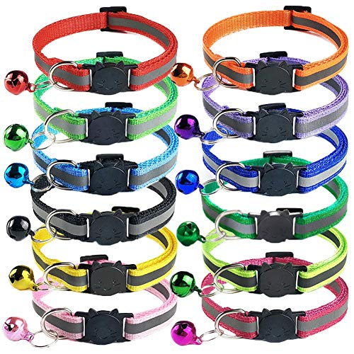 12 Stück Katzenhalsband Reflektierend,Katzenhalsband mit Sicherheitsverschluss und Glöckchen Halsband Katze,Verstellbar 19–32 cm,Für Katzen und Welpen (12 Farben)