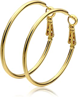 Fashion Stainless Steel Hoop Earrings, Gold Plated Rose Gold Plated Silver Plated Endless Round Earrings Hoop for Women and Girls Sensitive Ears (40mm)