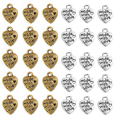 Aweisile Dijes 200 Piezas Colgantes de Corazón Mini Colgante de corazón Accesorios para Bisutería Colgante Charm Made with Love para Manualidades Fabricación de Bisutería Accesorios