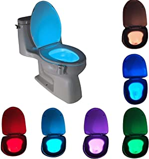 Motion Sensor LED Toilet Night Light, Komire Light Detection Motion Activated Toilet Light with 8-Color Changing, Battery Operated Waterproof Washroom Light Toilet Seat Light Inside Toilet Bowl