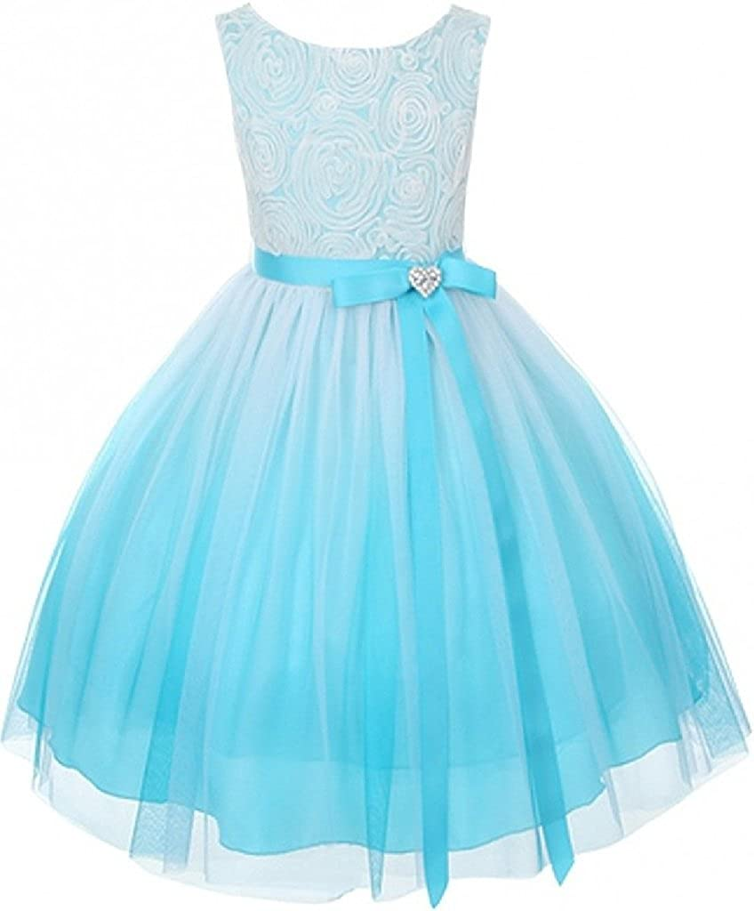Gorgeous Ombre Rosette Heart Brooch Easter Special Occasion Flower Girl Dress