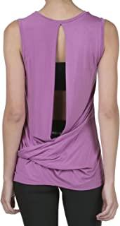 iliad USA Women's Backless Yoga Workout Active Loose Knotted Back Tank Top