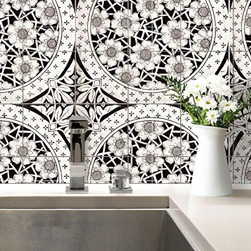 Tegelstickers donker Victoriaanse bloemen tegels stickers tegels badkamer keuken ornament bloemen wanddecoratie bloemen zelfklevend Wall-Art 20x20 cm (20er Set) zwart