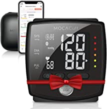 MOCACuff Bluetooth Blood Pressure Monitor, Fully Automatic Accurate Wrist, FDA Blood Pressure Monitor Cuff 99 memory, Portable with hard shell Case and Tracking App for Apple iPhone and Samsung- Black
