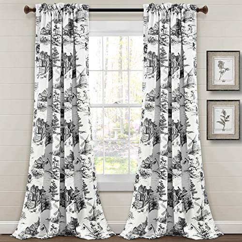 "Lush Decor French Country Toile Room Darkening Window Curtain Panel Pair, 84"" L x 52"" W + 2"" Header, White & Charcoal"