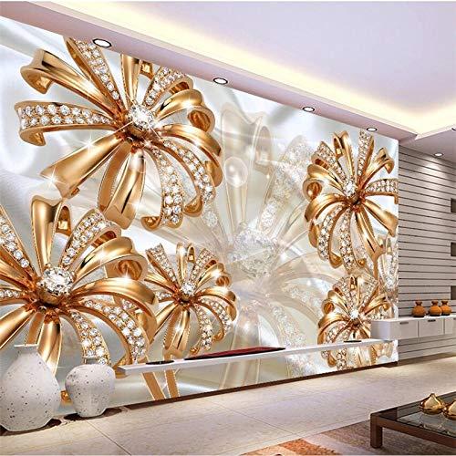 Apoart Papel Pintado Papel De Parede 3D Palacio Europeo Oro Diamante Flor Joyas Sala Tv Para Paredes 3D350Cmx245Cm