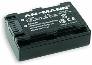 ANSMANN Li-Ion 7 4V Camera Battery Replacement For NP-FH  Pack Compatible with Sony Cameras Including Sony Alpha 230  DCR-DVD150E  DCR-HC51E  DSC-HX100V Many More Year Warranty
