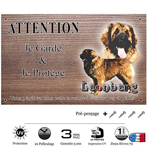 Pets-Easy.com Attention Chien de Garde personnalisée leonberg - pré perforée et vis données. De 30 cm à 15 cm…
