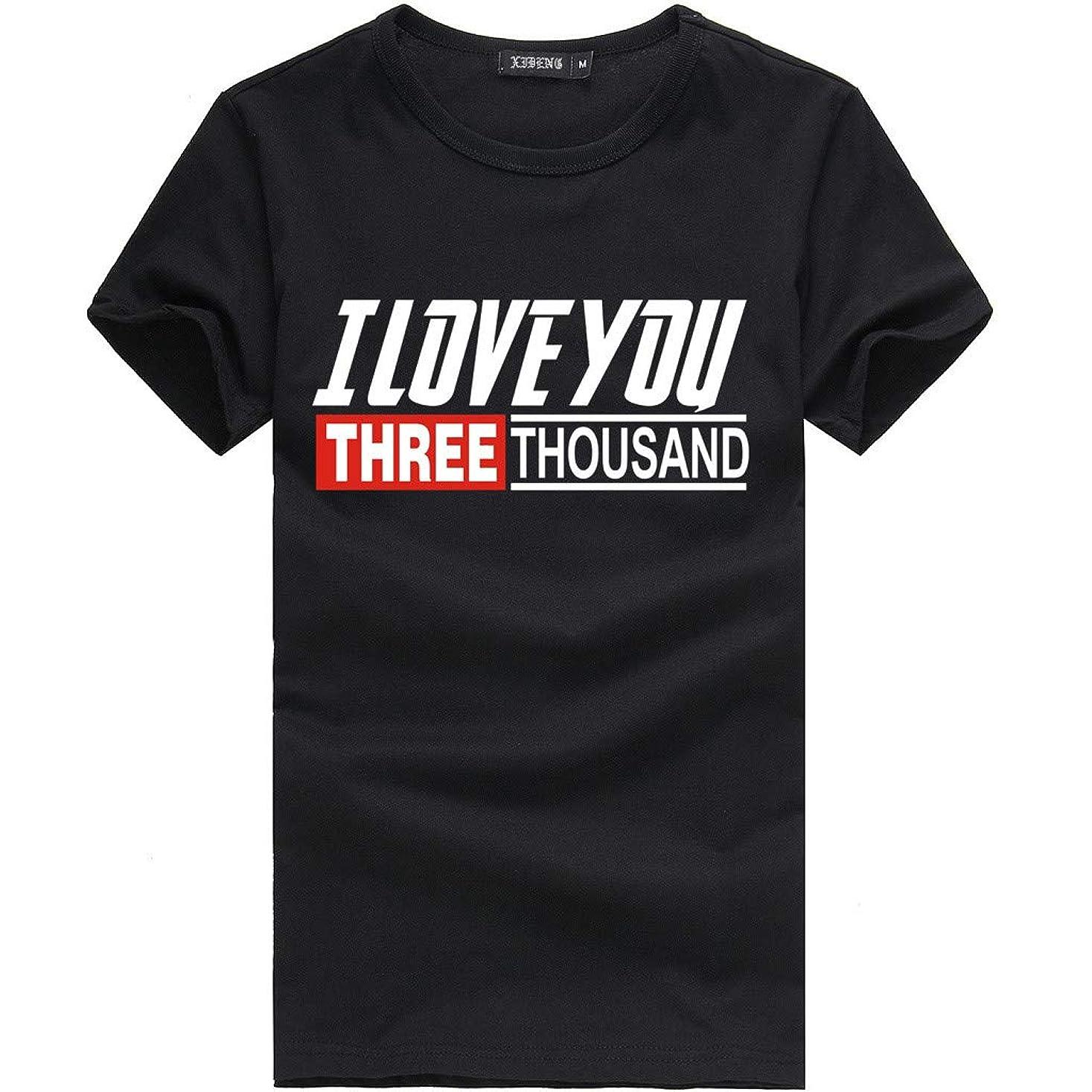 レール制約お金ゴムTシャツ メンズ Iron Man I LOVE YOU 3000 TIMES 映画 Tシャツ メンズ アヴェンジャーズ 丸首 半袖 トップス ファッション Tシャツ 男女兼用 快適 柔らかい 活動性が良い 夏服 カジュアル ゆるい ブラウス