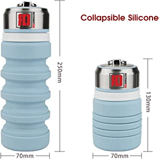 Collapsible Water Bottles for Travel & Outdoor 14oz | Food-Grade Silicone | BPA Free | Lightweight | Eco-Friendly | Blue Color