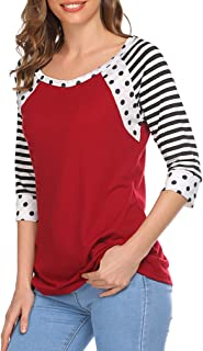Women's Tshirt 3/4 Sleeve Tops O-Neck Casual Shirt Cute Dots Blouse Tunic Tops Classic Stripes