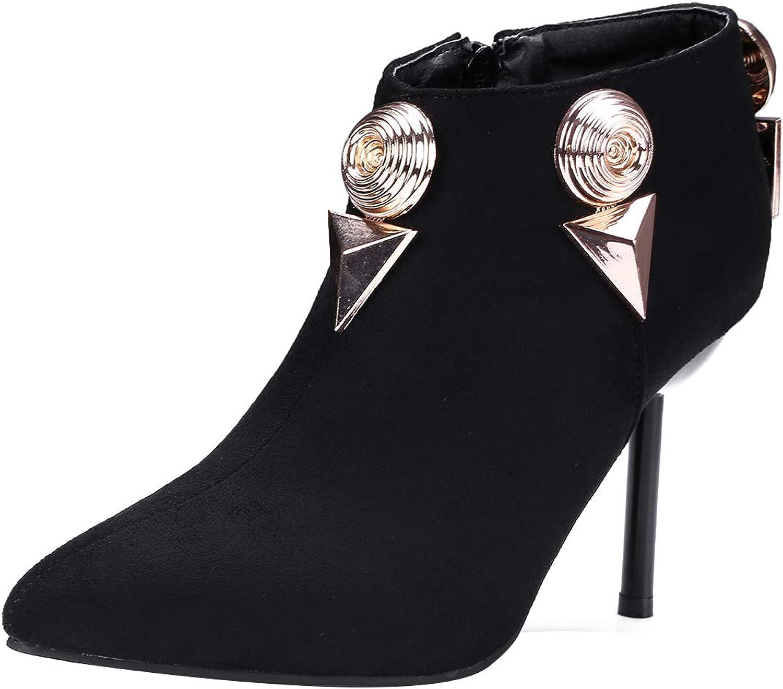 Jushee Womens Julast 9 cm high-Heel Ankle Zipper Patent-Leather Boots