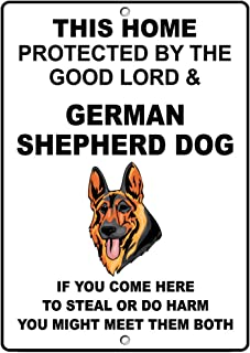Fastasticdeals German Shepherd Dog Dog Home Protected by Good Lord and Novelty Metal Sign