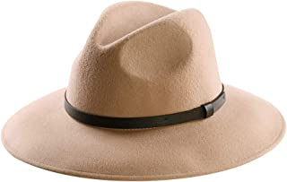Wool Felt Hat,Wide Brim Fedora Hats Men Women Trilby Outback Cowboy Panama Caps with Vintage Leather Band