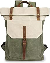 YFbear Canvas Roll Top Rucksack Hochwertiger Wasserfester Backpack mit Rollverschluss – Praktischer Daypack,Uni-Schulrucksack, Laptoptasche für Damen und Herren Segeltuch Trekkingrucksäcke Grün