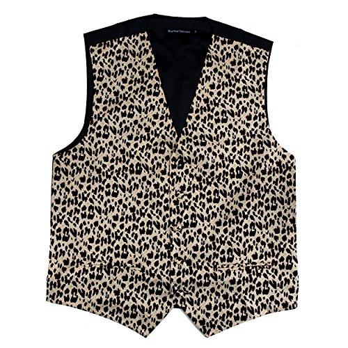 Mens Animal Print Tuxedo Vest Leopard Tiger Zebra Cheetah Prom Formal Wear Taupe Black