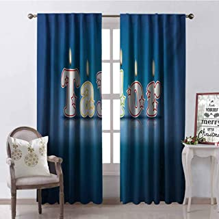 GUUVOR Taylor Shading Insulated Curtain Common Given Name in English Happy Occasion Candles Font Design on Blue Soundproof Shade W84 x G84 Inch Blue and Multicolor