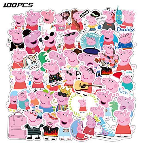 Pepp_a Pig Stickers 100PCS Cute Animal Stickers Cartoon Pig Stickers Gifts for Kids Boys Girls Adults Water Bottles Laptop Computer Skateboard Guitar Decor