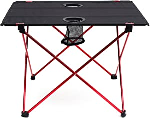 "Outry Lightweight Folding Table with Cup Holders, Portable Camp Table (M - Unfolded: 22"" x 17"" x 15"")"