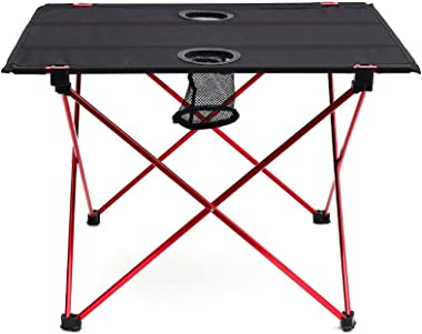 """Outry Lightweight Folding Table with Cup Holders, Portable Camp Table (M - Unfolded: 22"""" x 17"""" x 15"""")"""