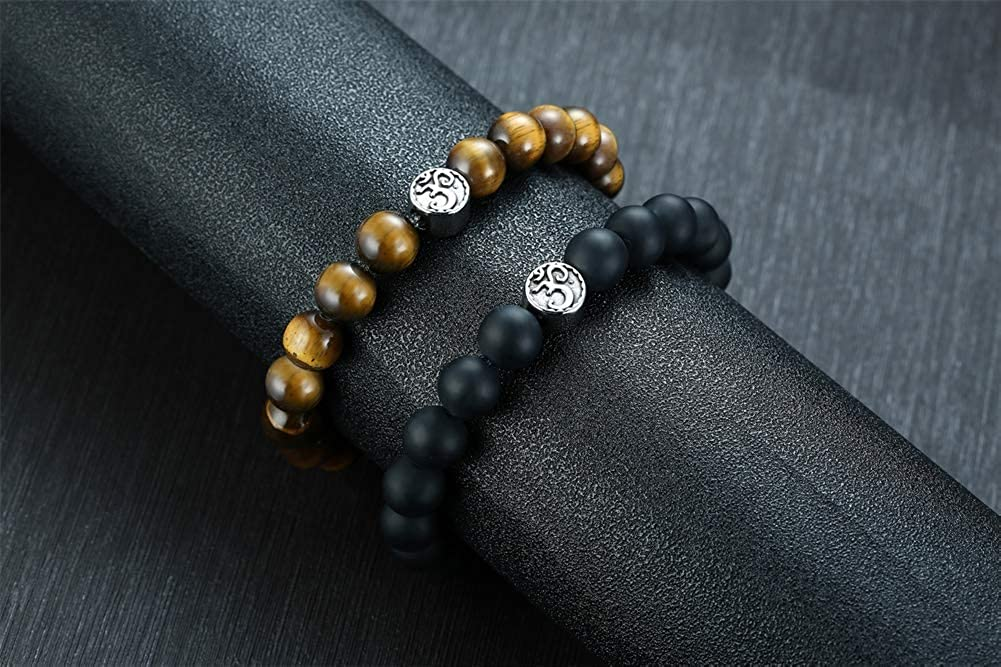 VNOX Stainless Steel Aum Ohm Namaste & OM Cuff Tiger Eye Yoga Beads Bracelet Bangle for Men Boys