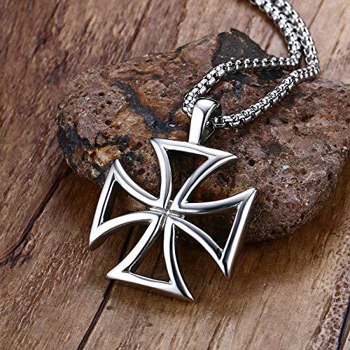 Anhänger Halskette Herren Halskette Edelstahl Retro Hohl Eisen Kreuz Anhänger Halskette Ritter Kreuz Mode Schmuck