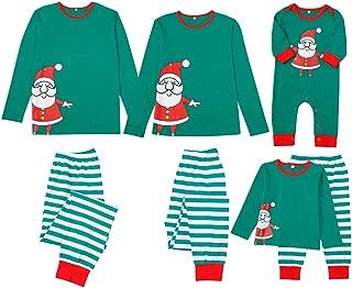 Family Matching Christmas Outfits Cute Cartoon Santa Printed Top + Stripe Pants Long Sleeve Xmas Christmas Pyjamas Set