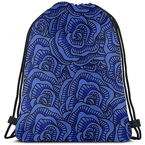 Blauwe retro romantische bloem pioenroos Kid string rugzak polyester trekkoord vuilniszakken tassen Party voor gymzaal reizen