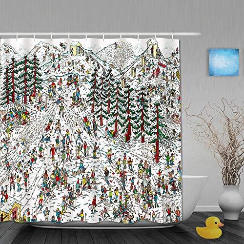 DAHALLAR Cortina de Ducha,Dónde está Waldo Ski Wally Martin Handford Children Book,Tejido de poliéster - con Gancho,180x180