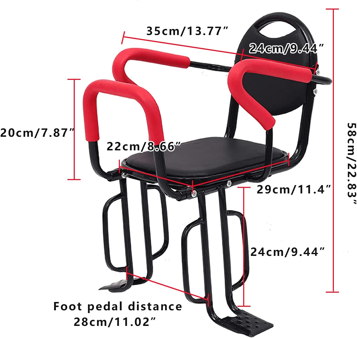TWSOUL Child Bike Seat, Rear Mounted Child Bike Seats, Back Mount Child Seat with Non-Slip Armrests/Pedals Padde/Seat Belt, Hold Up to 100lbs