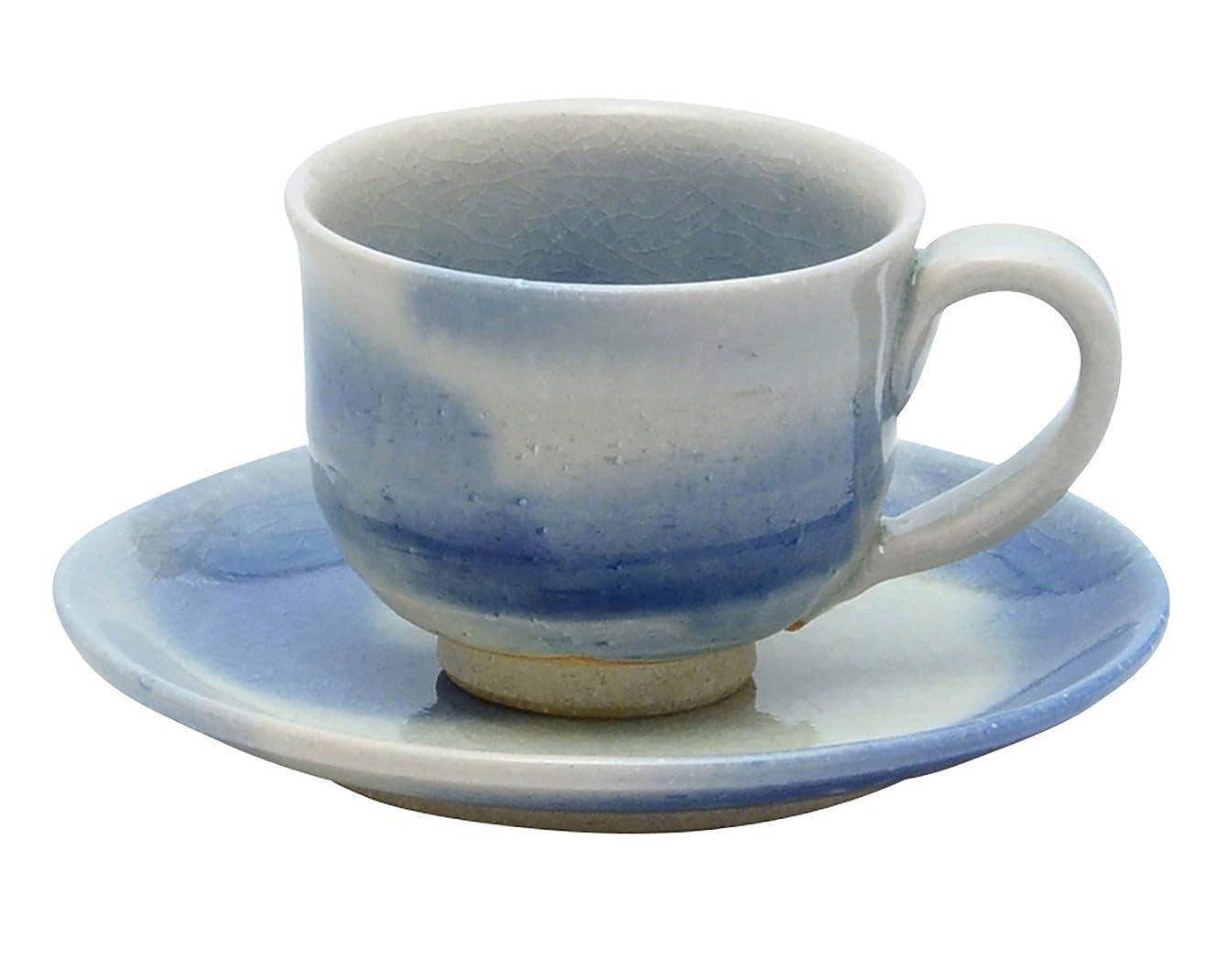 病気だと思う世論調査緊張する信楽焼 へちもん コーヒー碗皿 碧えがき 30-5950