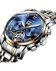 BesTn出品 腕時計 メンズ 機械式 自動巻き トゥールビョン風 1ATM生活防水 日付 曜日 透かし彫り ステンレスバンド