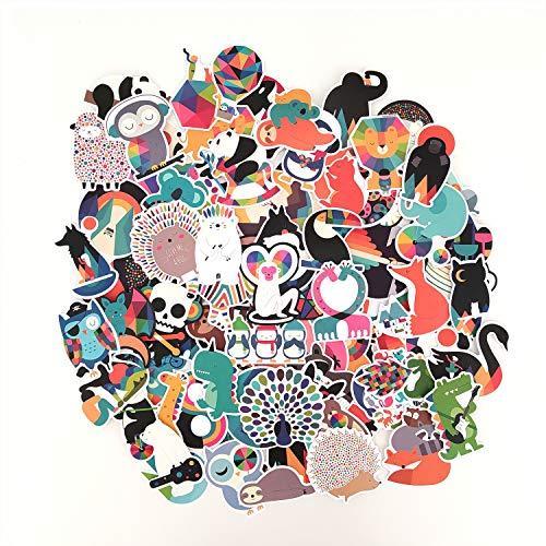 100 pegatinas coloridas de funky animales, bonitas pegatinas estéticas para portátil, botella de agua, equipaje, monopatín, snowboard, bicicleta, motocicleta, pegatinas coche