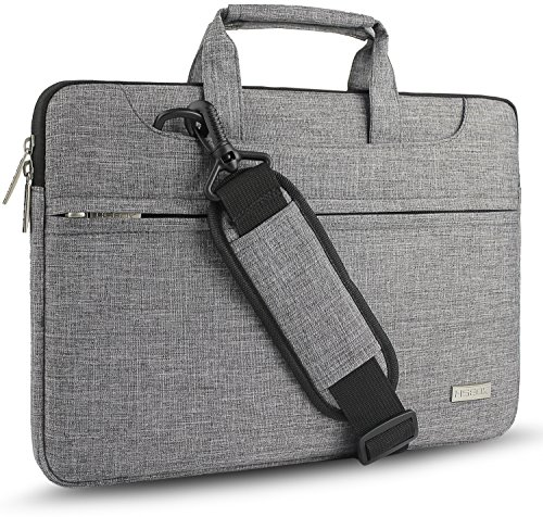 "Hseok Bolso Bandolera/Maletín para Portátil 13""-14"", Funda Protectora Laptop Sleeve Impermeable para 13,3 MacBook Pro Air, XPS 13, 13""-14"" HP ASUS Acer Lenovo DELL Notebook, Gris"