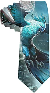 Cool Blue Ice Phoenix Bird Necktie for Men, Casual Gentleman Tie Necktie, Suit Accessories Ties