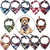 12 Bandanas de Perros Pañuelo de Perro de Triángulo, Impresión Reversible Lavable, Juego de Pañuelos Babero de Perros, Adecuado para Mascotas Perros y Gatos Pequeñas o Medianas(Estilo a Cuadros)