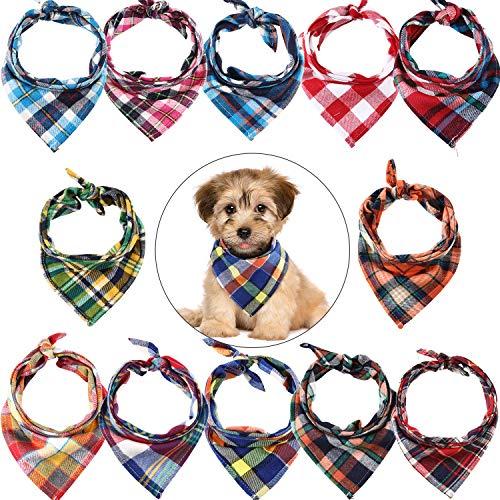 12 Stücke Hunde Bandanas Dreieckiger Hundeschal, Waschbarer Wende Druck, Lätzchen Hundetuch Set, geeignet für kleine oder Mittelgroße Katzen und Hunde Tiere (Karierter Stil)