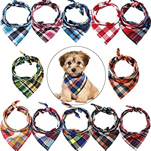 12 Pieces Dog Bandanas – Triangle Dog Scarf, Washable Reversible Printing, Bibs Dog Kerchief Set, Suitable for Small or Medium-Sized Cat and Dog Pets (Plaid Style)