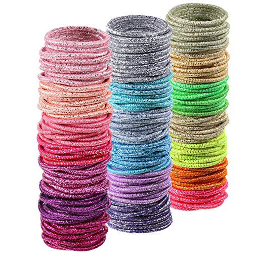 200 Pieces No-metal Hair Elastics Hair Ties Ponytail Holders Hair Bands (2 mm, Baby Size, Glitter Multicolor)