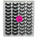 DAODER False Eyelashes Dramatic Mink lashes Pack Thick Long Fluffy 20mm Variety Mixed Style Wispy Natural Fake Eyelashes Wholesale Bulk 20 Pairs