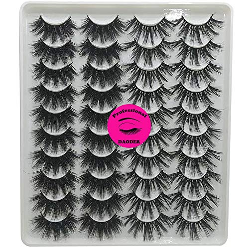 DAODER 20mm False Eyelashes Dramatic Mink Lashes Pack Thick Long Fluffy Variety Mixed Style Wispy Natural Fake Eyelashes Wholesale Bulk 20 Pairs