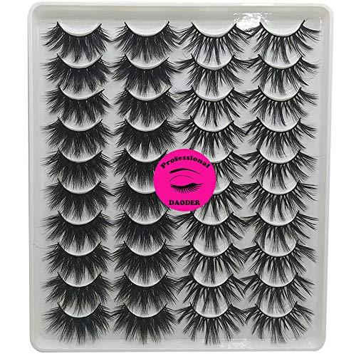DAODER Thick Eyelashes 20mm False Eyelashes Dramatic Mink Lashes Pack Long Fluffy Variety Mixed Style Wispy Natural Fake Eyelashes Wholesale Bulk 20 Pairs