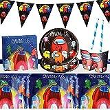 Gxhong Decoración de la Fiesta de cumpleaños Infantil de Among Us, Decoraciones de Cumpleaños,Suministros Vajilla de Fiesta Set, Pancarta Platos Tazas Servilletas Mantel Paja, 52PCS
